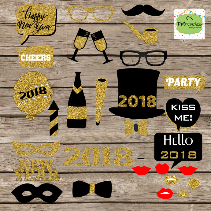 2018  New Year's Eve Party photo booth props- Instant Donwload- Black & Gold