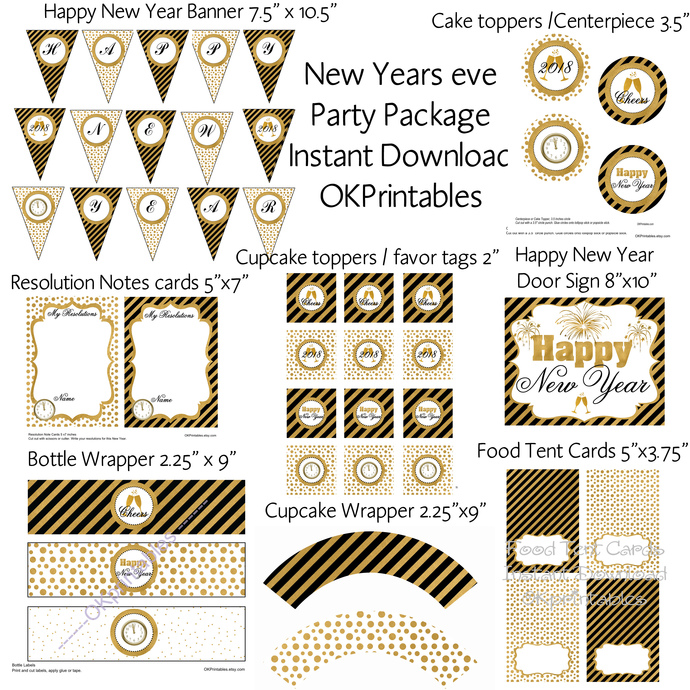 2018 New Year's Eve Party package- Signs, tent card, cupcake toppers, wrapper,