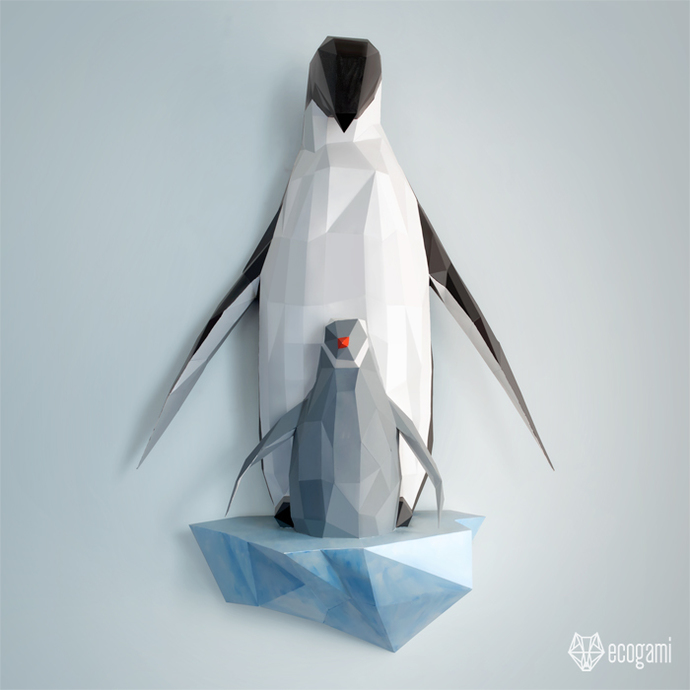 image relating to Penguin Pattern Printable titled Papercraft penguin loved ones Do-it-yourself wall mount 3D papercraft sculpture  Printable PDF habit Very low poly animal