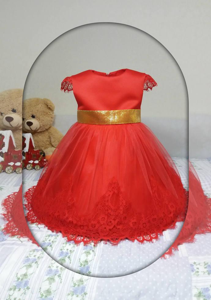 christmas girl dress christmas gift red flower girl dress christmas outfit lace - Red Dresses For Christmas