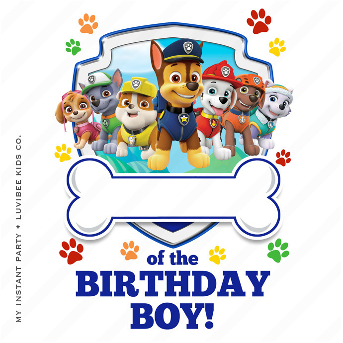 Paw Patrol Editable PDF [of the Birthday Boy Design] Instant Download