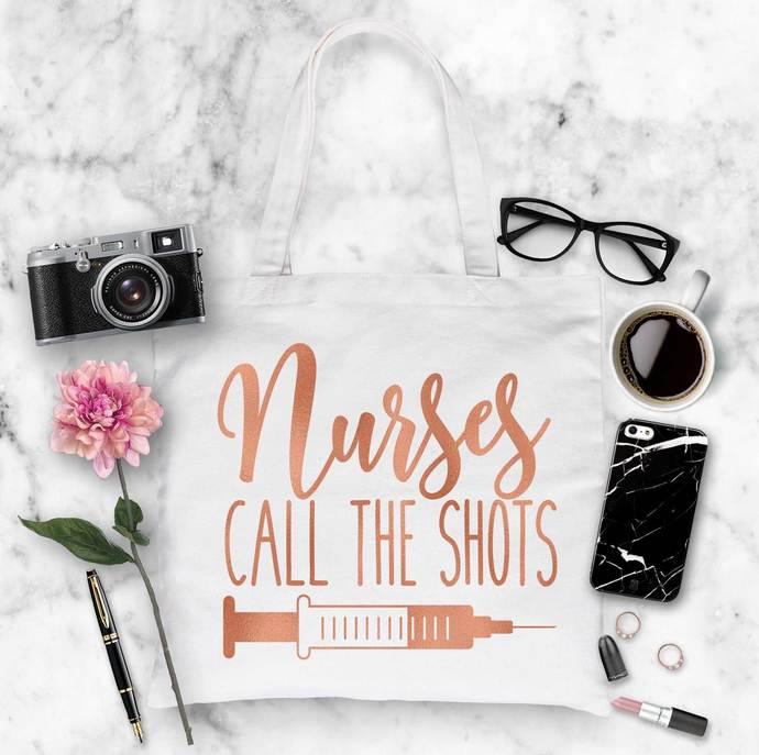 Nurses call the shots, Large Cotton Tote Bag, gifts for nurses, nurse