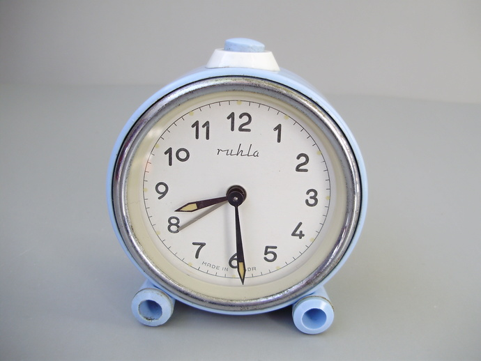 True Vintage lovely baby blue Ruhla alarm clock,German GDR clock,Table/Alarm