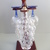 Vintage Hungarian glass decanter set on wood standing,2 blue