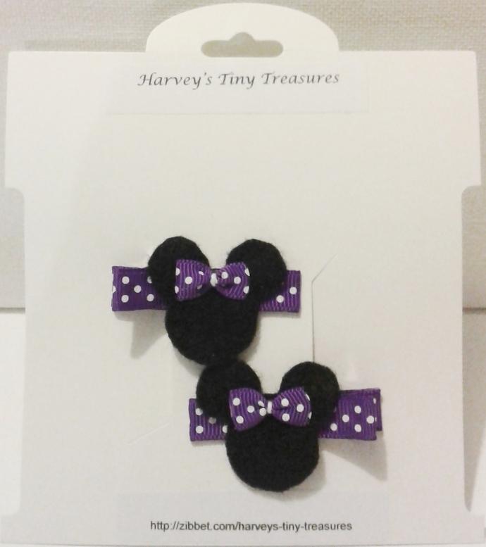 N197– Purple Polka Dot Mouse Hairclips Set
