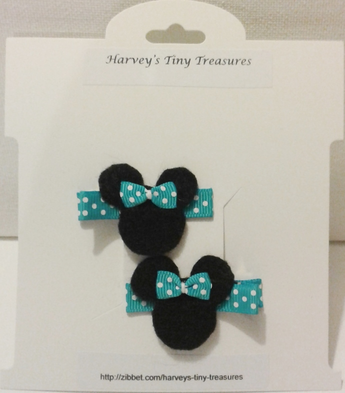 N200– Blue Polka Dot Mouse Hairclips Set