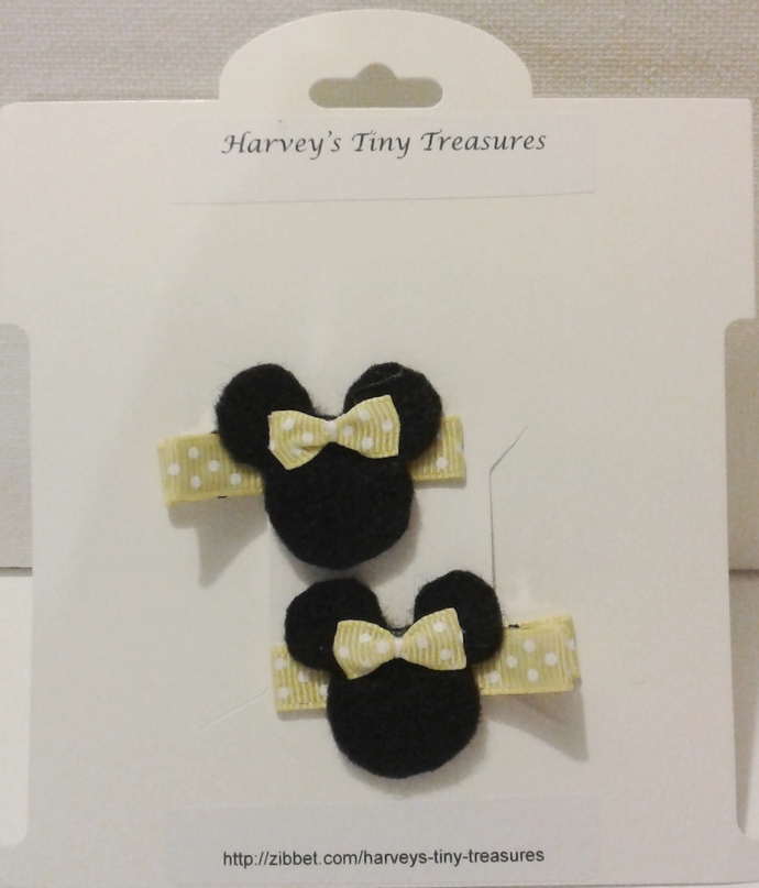 N205- Yellow Polka Dot Mouse Hairclips Set