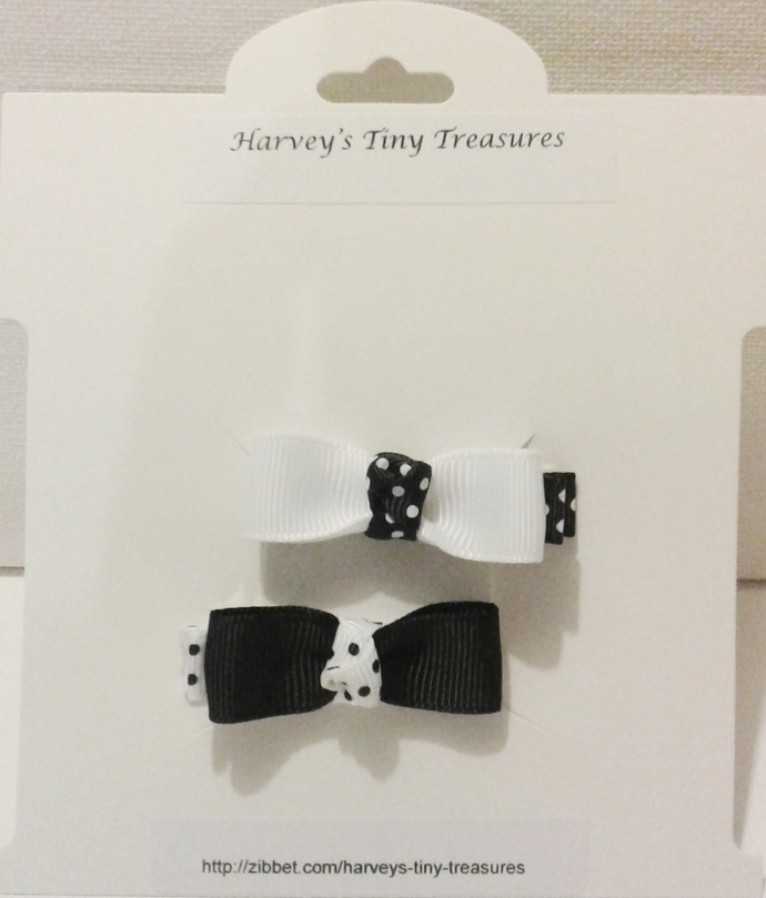 N212 – Black and White Hairclips Set