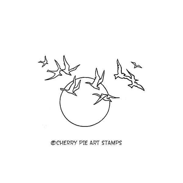 SUNSET with gulls- CLiNG RuBBer STaMP for acrylic block by Cherry Pie G241