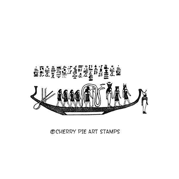 Egyptian ship hieroglyphics - CLiNG RuBBer STaMP by Cherry Pie L340