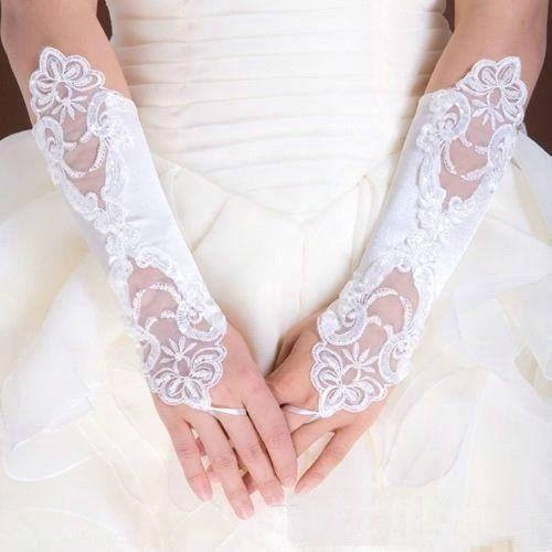 White Pearl Bead Lace Wedding Gown Bridal Party Gloves