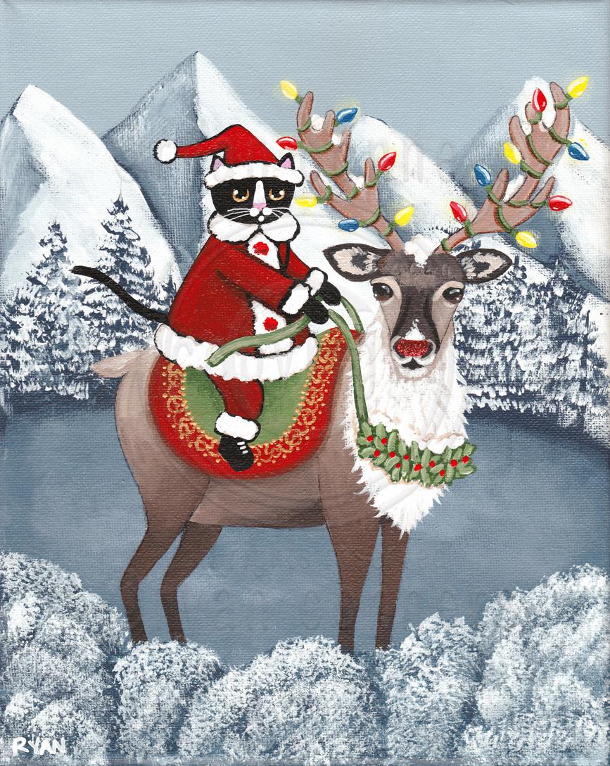 Santa S Reindeer Original Christmas Cat By Kilkennycat Art On
