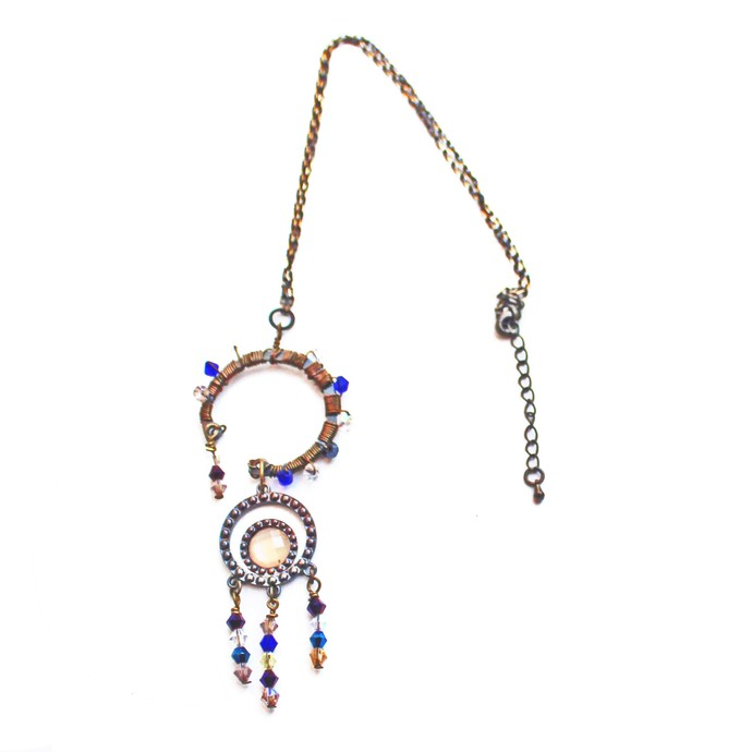 Circle Pendants Beaded Necklace using a Recycled Metal Dial and Crystal Bicone