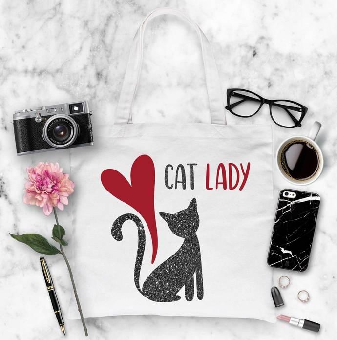 Cat Lady Custom Cotton Tote Bag, Large Tote Bags
