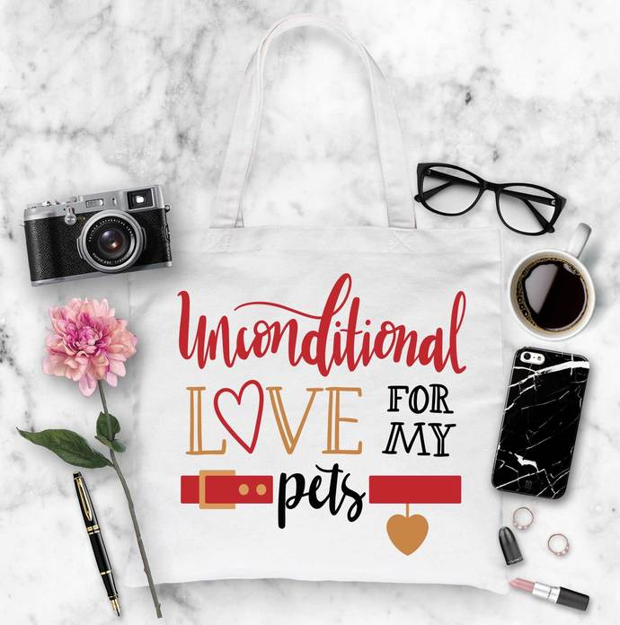 Unconditional Love for my Pets Cotton tote bag