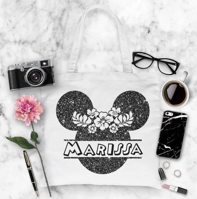 Custom Minnie Mouse Monogram Tote, Custom Name tote