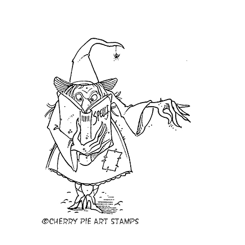 WITCH - Hocus Pocus - CLiNG Rubber Stamp by Cherry Pie P416