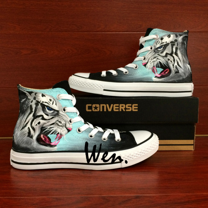 Original Design Leopard Hand Painted Shoes Men Women Converse All Star Animal Painting High Top Chuck Canvas Sneakers