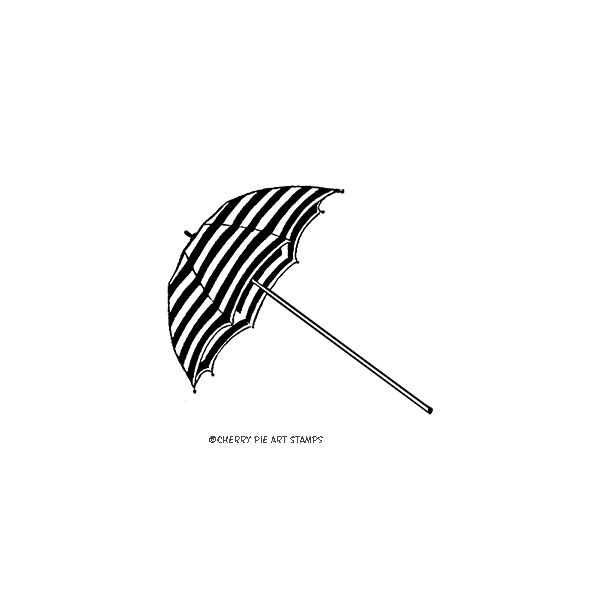 Umbrella, beach - CLiNG Rubber STAMP by Cherry Pie E201