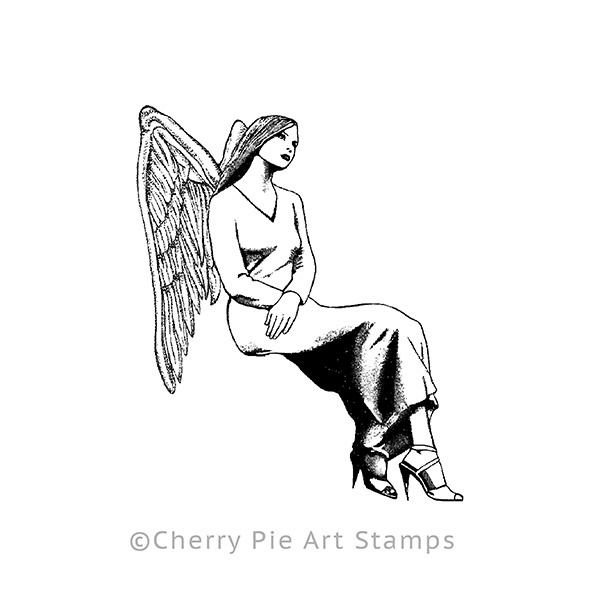 Sitting angel -Cling rubber stamp for acrylic block P408