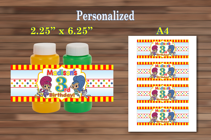 Shimmer And Shine Party Favor Bubble Labels Birthday Personalized PDF