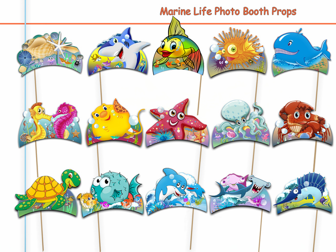 Unique Marine Life Photo Booth Props Collection Set - 15 Piece PRINTABLE,