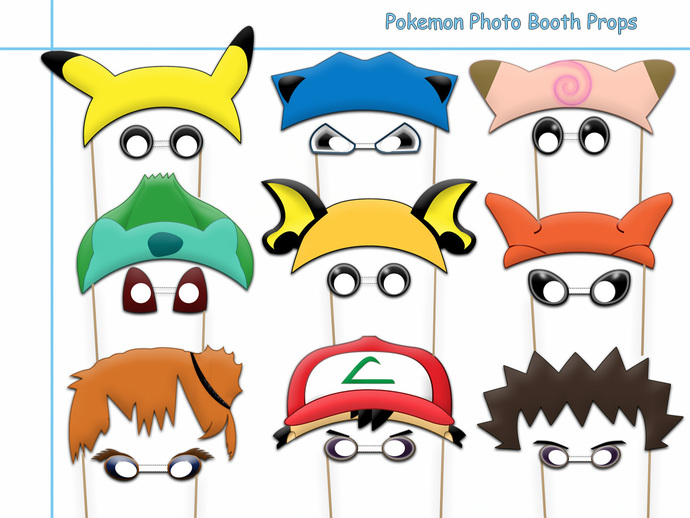 picture about Printable Photo Booth Props Birthday identified as Exceptional Pokemon Image Booth Props Variety+Free of charge Aspects PRINTABLE, birthday strategy, prop, costume up, pokemon bash decor