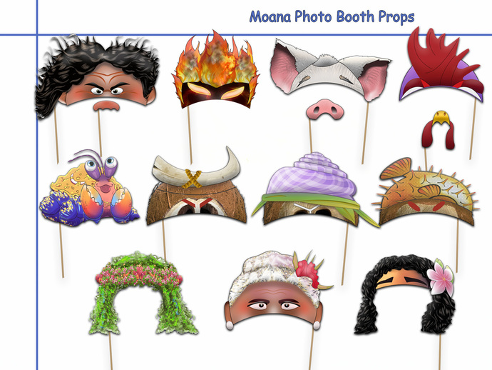 unique moana printable photo booth props by holidaypartystar on