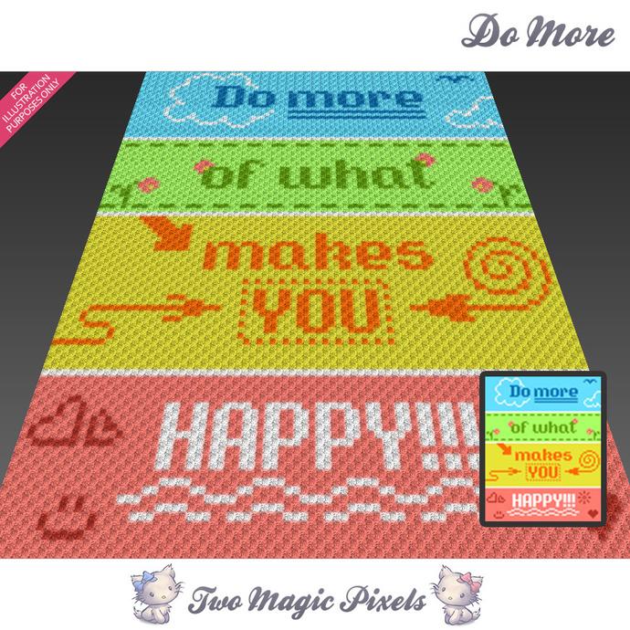 Do More crochet blanket pattern; c2c, cross stitch; graph; pdf download; no