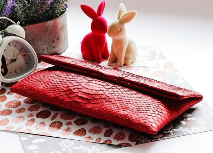 Christmas Scarlet Red Python Snakeskin Clutch Purse