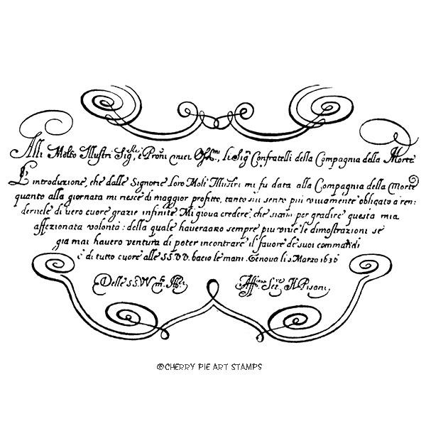 Antique swirly manuscript 1640 - Renaissance art - CLiNG RuBBer STaMP R527
