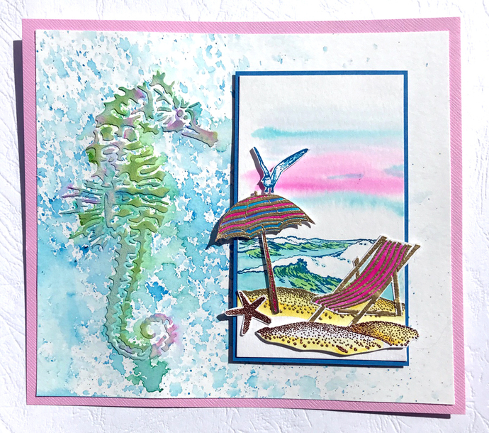 Deck chair, beach - CLiNG Rubber STAMP by Cherry Pie L350