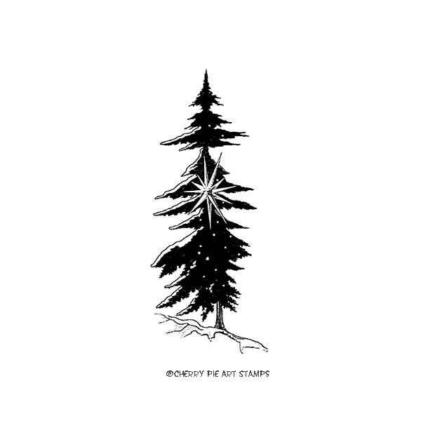 Christmas tree- CLiNG Rubber STAMP by Cherry Pie E217