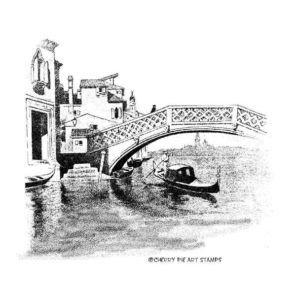 Venice Canal, VENEZIA ITALY-  CLING rubber stamp by Cherry Pie R535