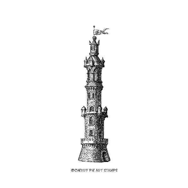 Antique Tower, Venice, Italy-  CLING rubber stamp by Cherry Pie L324