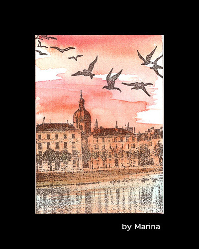 Chalon, France, river town-  CLING rubber stamp by Cherry Pie R577