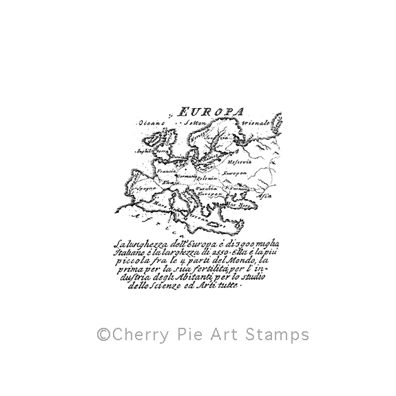Europe map, antique - CLING rubber stamp by Cherry Pie P399