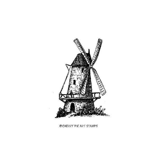 Old windmill, Holland-  CLING rubber stamp by Cherry Pie J286
