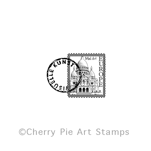 Europe Mail art postoid - CLING rubber stamp by Cherry Pie D161