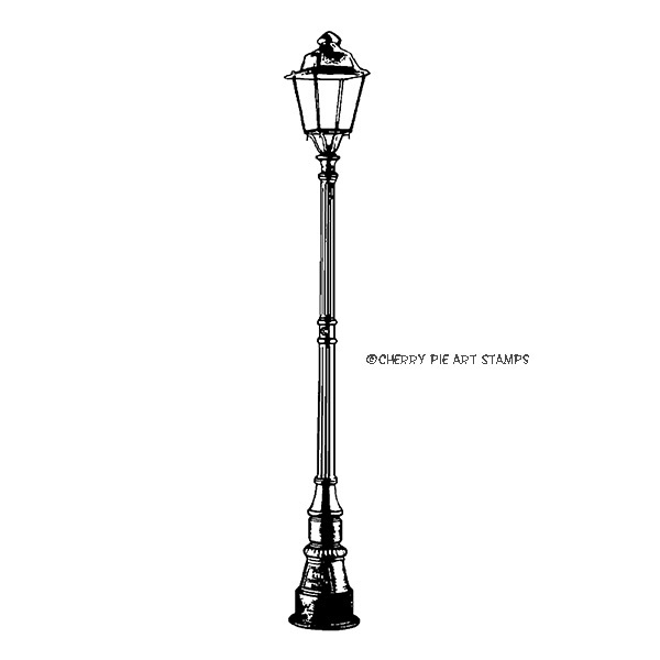 Street lamp post-  CLING rubber stamp by Cherry Pie G251