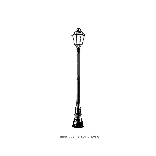 Street lamp post (small)-  CLING rubber stamp by Cherry Pie D157