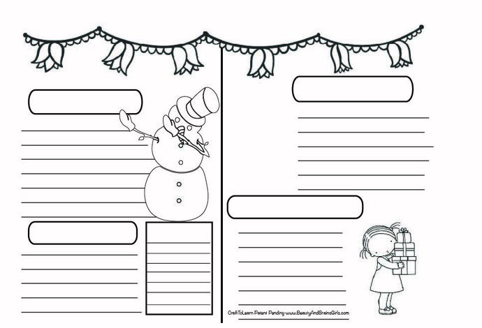 Snow Christmas Theme Art Journal  DIY Printable Instant Download Bullet Journal,
