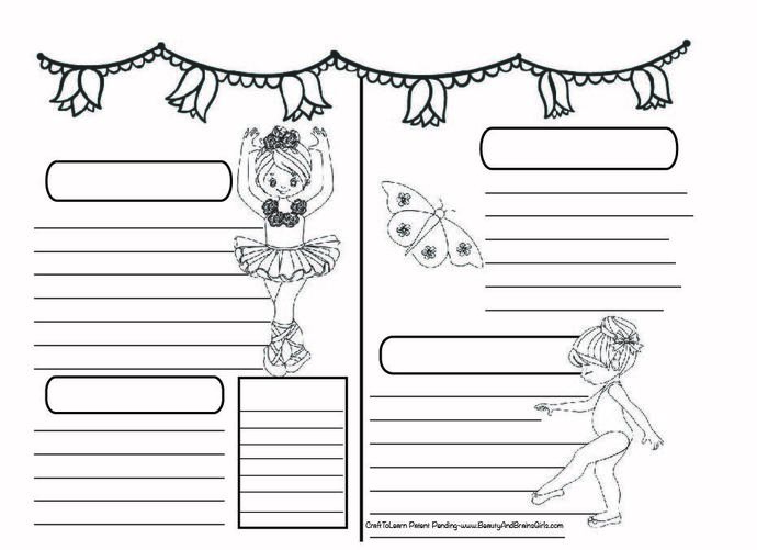 Ballerina Butterfly Art Journal  DIY Printable Instant Download Bullet Journal,