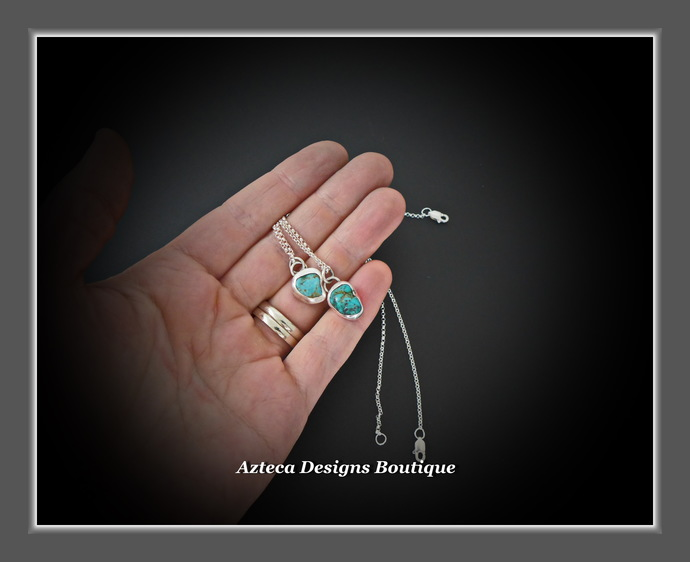 Arizona Turquoise Nugget Sterling Silver Hand Fabricated Necklace