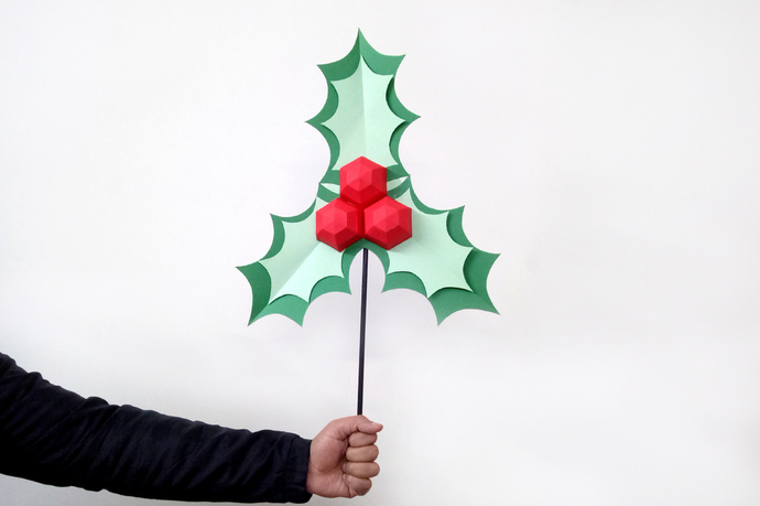 diy christmas holly leaves stickchristmas decorationsholly berriesholly