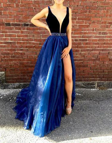 11e021298f4 V-Neck Royal Blue Elegant 2018 Prom