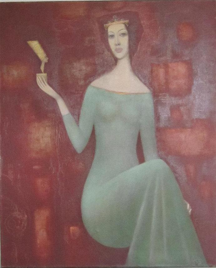 Sergei Sarkovsky oil on canvas painting NEFERTITI Russian art
