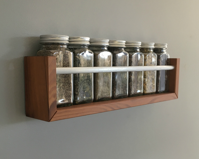 Modern Wood Spice Rack, Wall Mountable, Chef Gift, Housewarming Gift