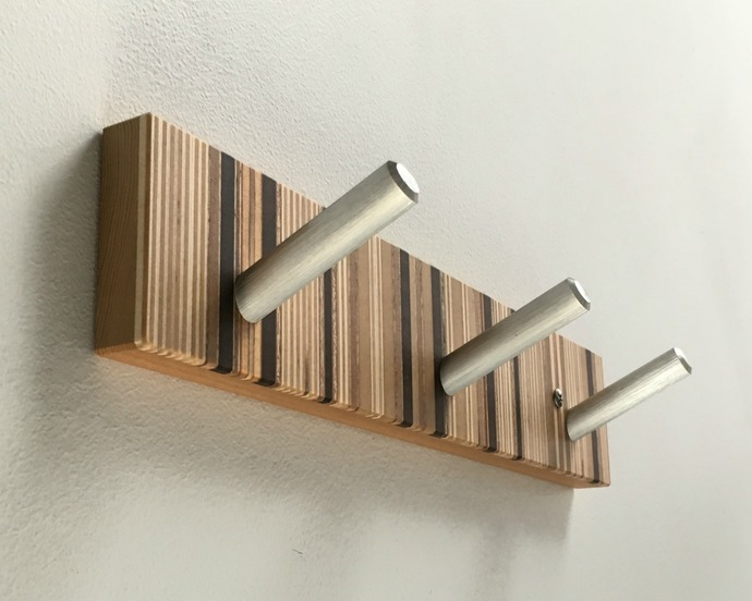 Towel Rack, Modern Robe Hook with Three Brushed Metal Pegs