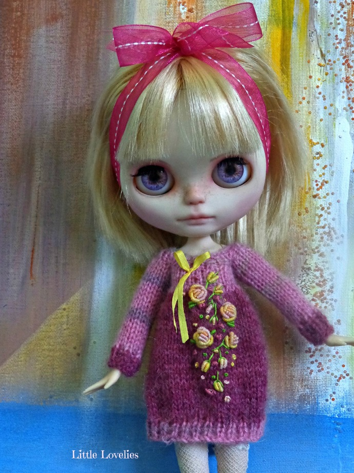 Blythe or Pullip Doll - OOAK - Two Pinks mohair dress with dimensional flowers